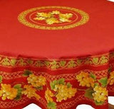 Grapes Crimson Red Coated Cotton Provence Round Tablecloth - Le Cluny