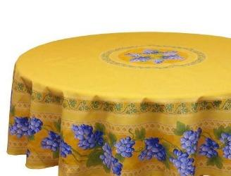 Grapes Yellow Coated Cotton Provence Tablecloth - Le Cluny