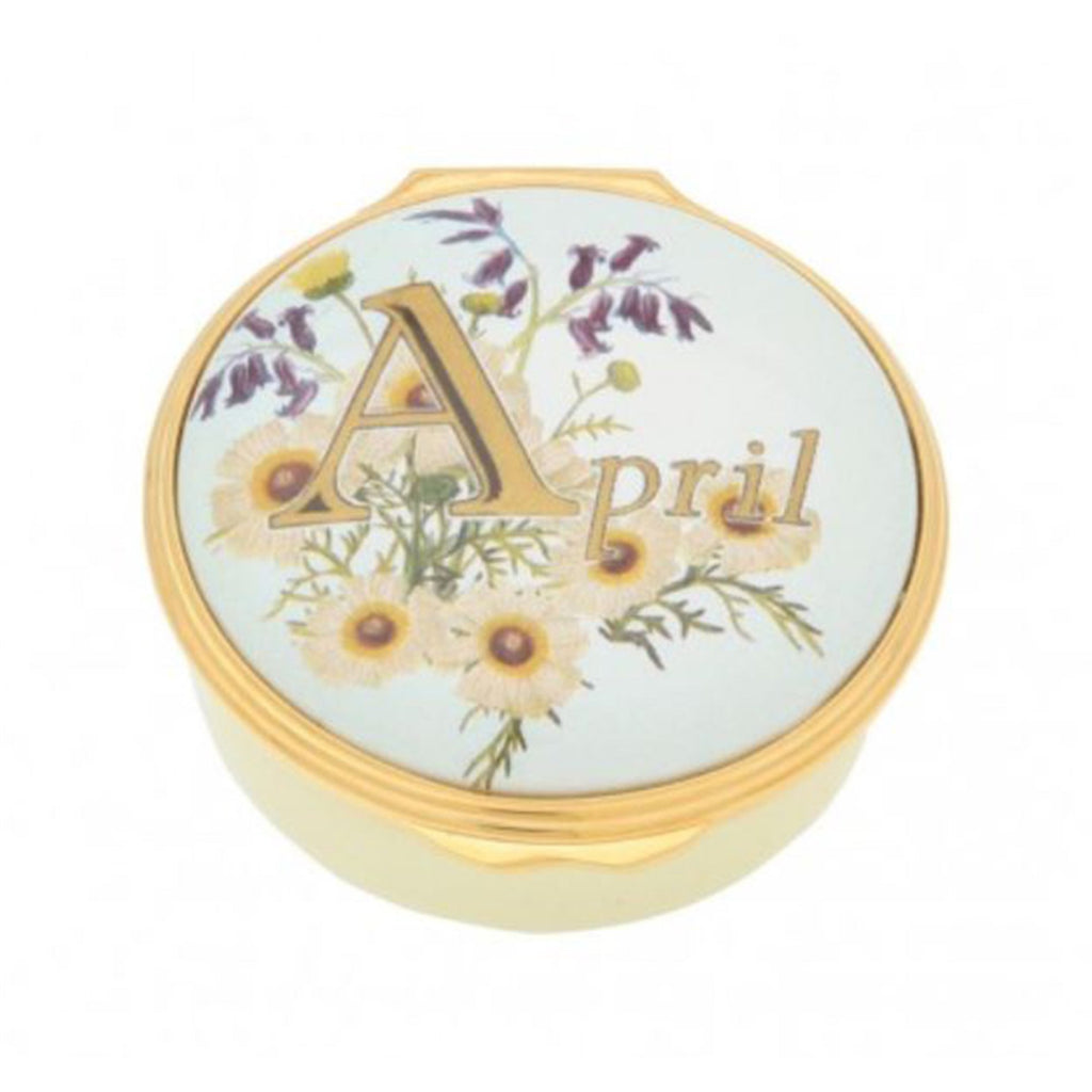 "Halcyon Days, ""April"" Memorable Milestone Hinged Enamel Box"