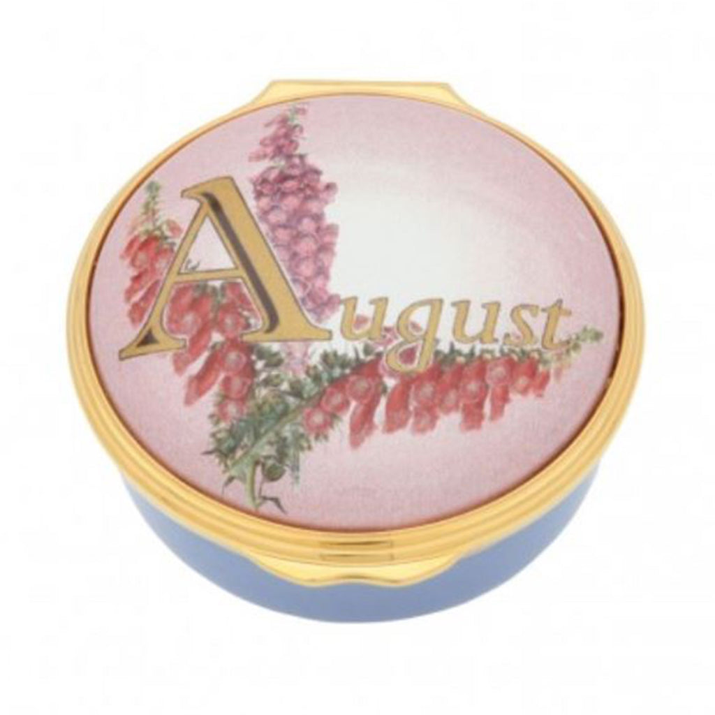 "Halcyon Days, ""August"" Memorable Milestone Hinged Enamel Box"