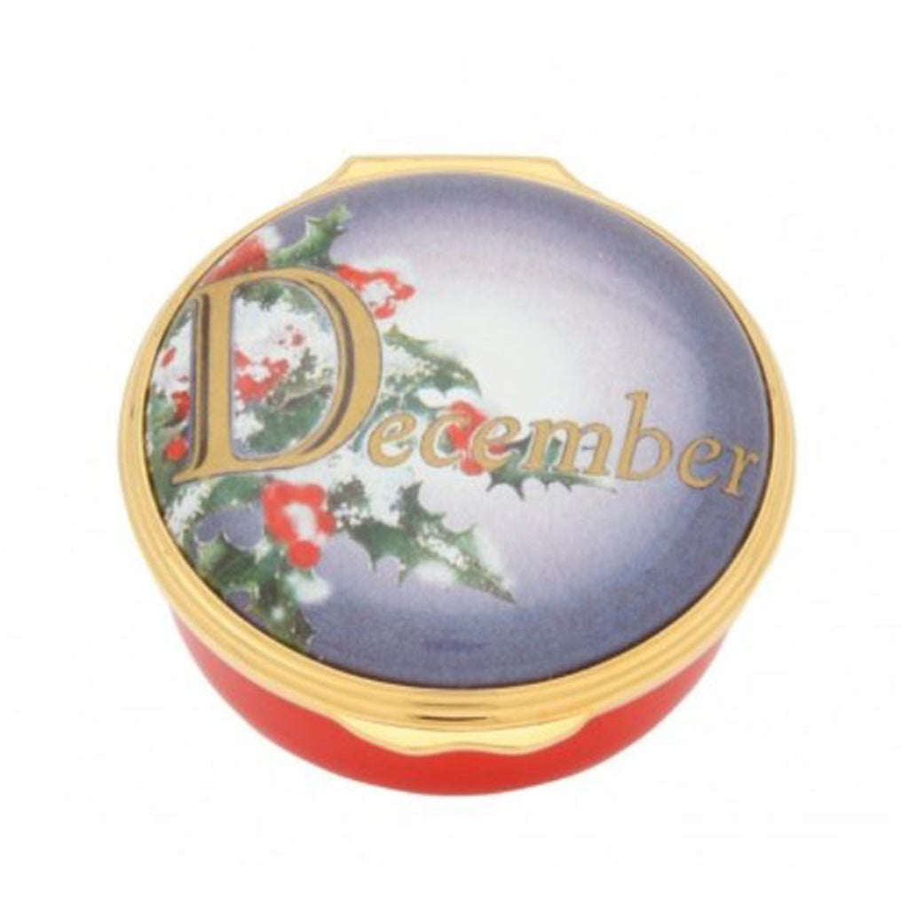 "Halcyon Days, ""December"" Memorable Milestone Hinged Enamel Box"