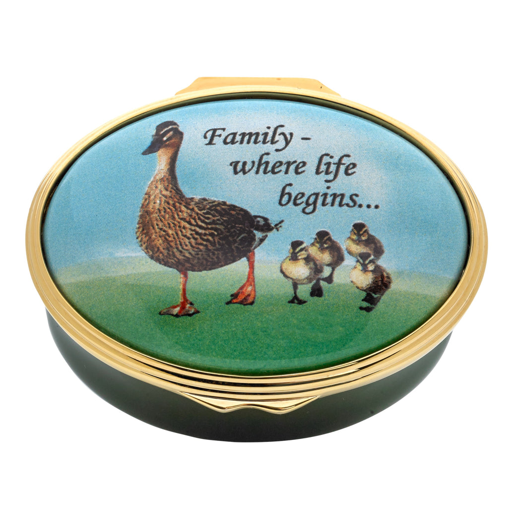 "Halcyon Days, Family, Where Life Begins..."" Hinged Enamel Box"