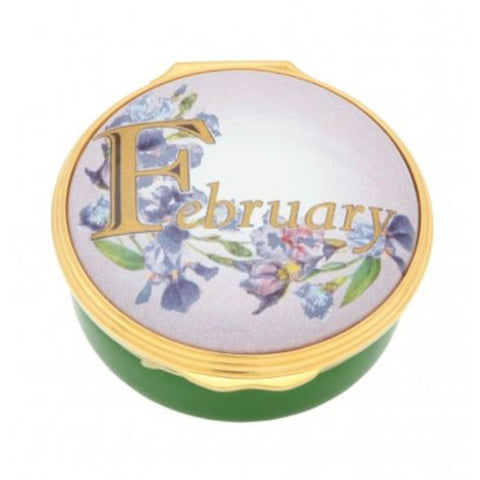 "Halcyon Days, ""February"" Memorable Milestone Hinged Enamel Box"