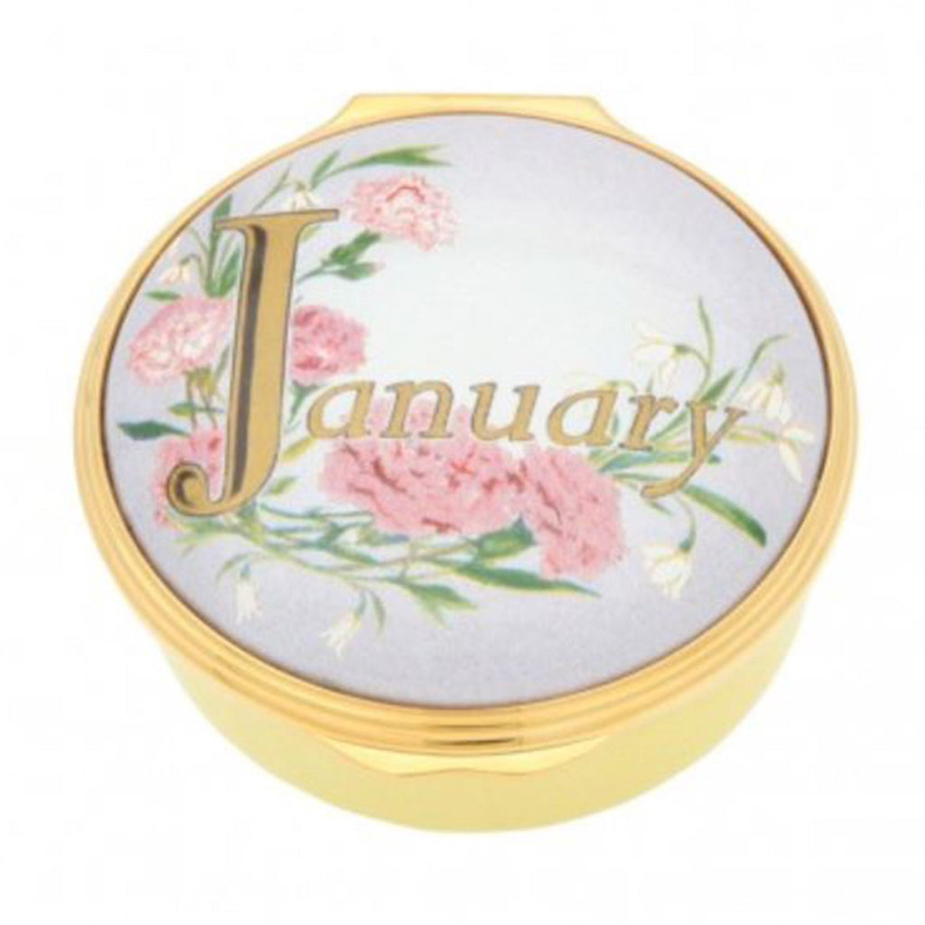 "Halcyon Days, ""January"" Memorable Milestone Hinged Enamel Box"
