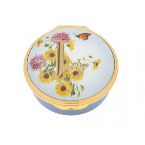 "Halcyon Days, ""July"" Memorable Milestone Hinged Enamel Box"