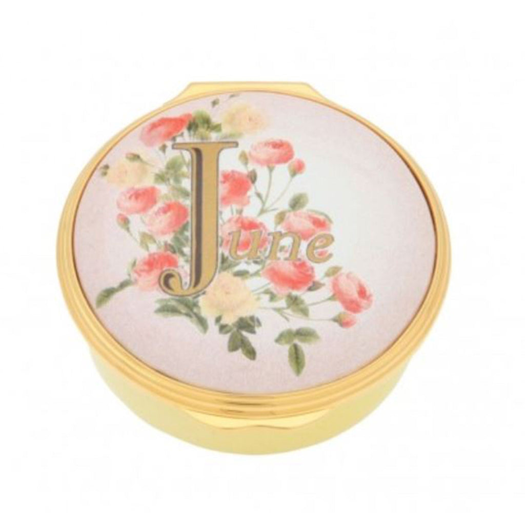 "Halcyon Days, ""June"" Memorable Milestone Hinged Enamel Box"