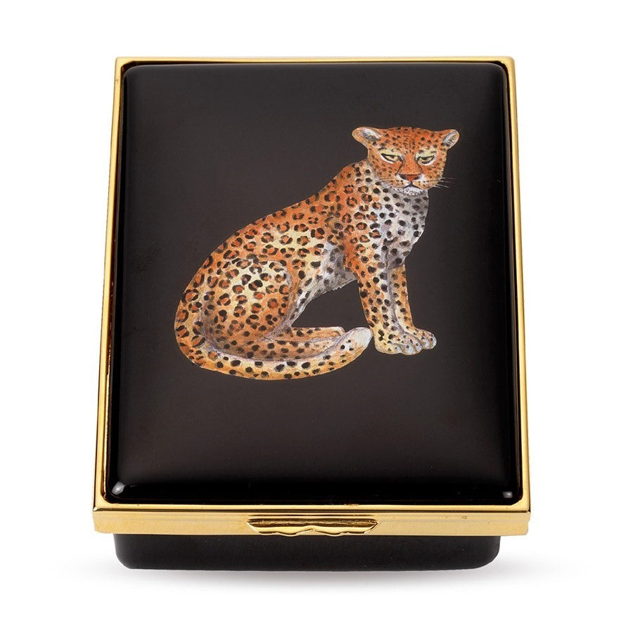 Halcyon Days, Leopard Portrait Hinged Enamel Black Box