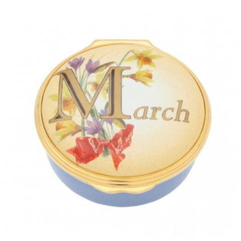 "Halcyon Days, ""March"" Memorable Milestone Hinged Enamel Box"