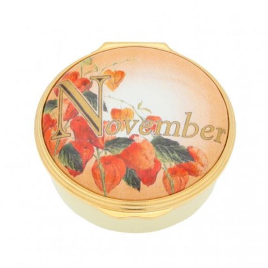 "Halcyon Days, ""November"" Memorable Milestone Hinged Enamel Box"