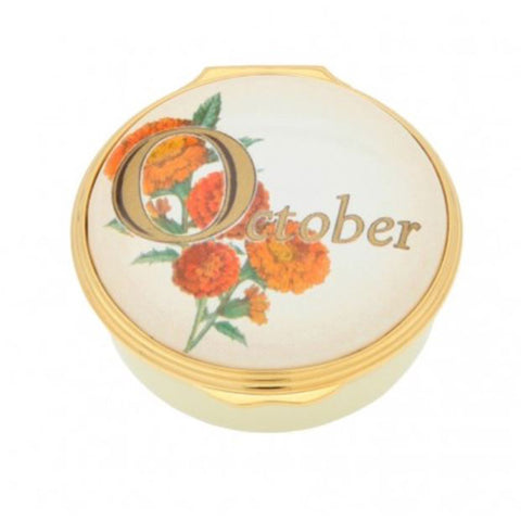 "Halcyon Days, ""October"" Memorable Milestone Hinged Enamel Box"