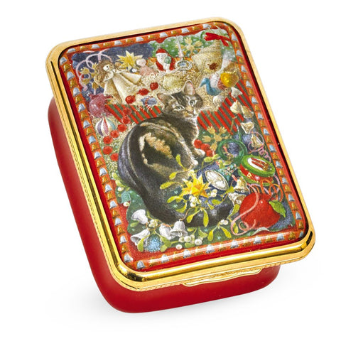Halcyon Days, 'Octopussy the Cat at Christmas' Hinged Enamel Box