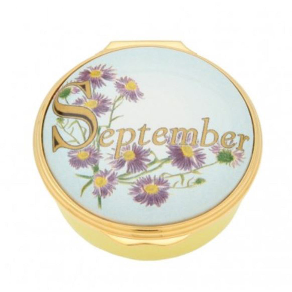 "Halcyon Days, ""September"" Memorable Milestone Hinged Enamel Box"