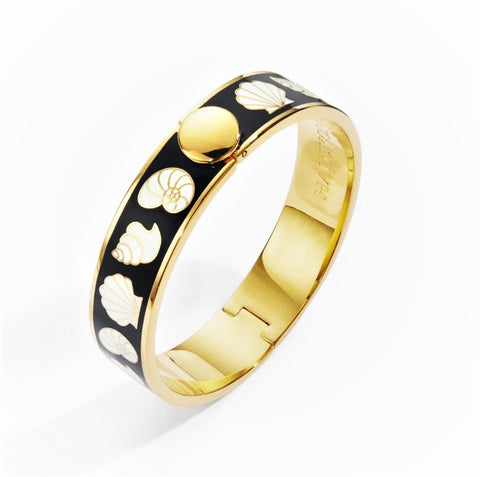 Halcyon Days, Shells Black & Cream Gold Bangle