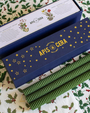 "Apis Cera, ""Lucienne"" French Hand-Rolled Beeswax Candles, Box of 9, Holiday Green"
