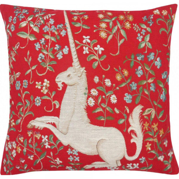 Unicorn Among Flowers, Red, Large Pillow / Cushion Woven Tapestry Cover