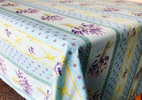 Lavender Sky Blue Coated Cotton Provence Tablecloth - Le Cluny