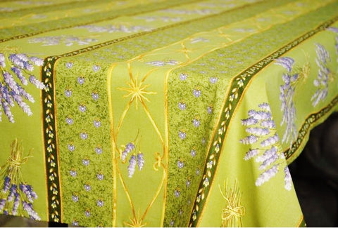 Lavender Green Coated Cotton Provence Tablecloth - Le Cluny
