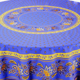 Lisa Blue Coated Cotton Provence Tablecloth - Le Cluny