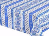 Lisa White & Blue Coated Cotton Provence Tablecloth - Le Cluny