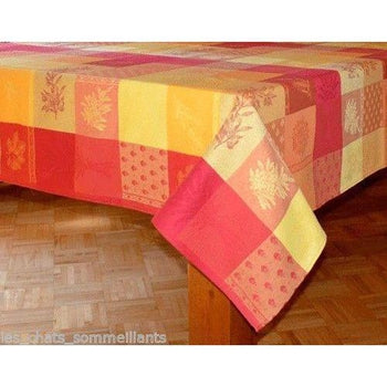 "Lourmarin Jaune et Rouge French Jacquard Tablecloth, 65"" x 65"""