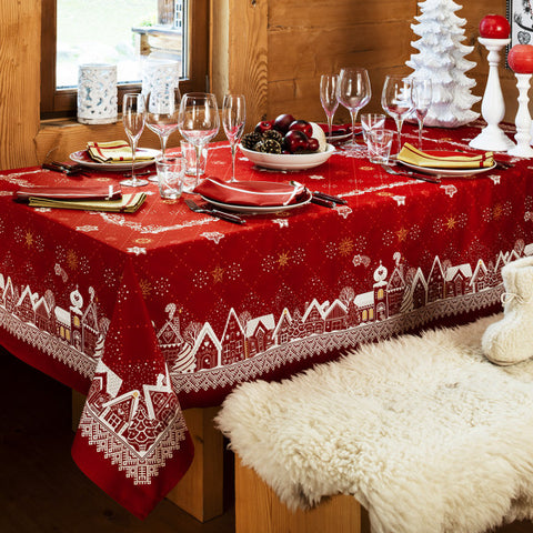 Beauvillé, La Nuit Étoilée, Red Christmas Tablecloth