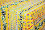 Olives & Mimosas Yellow Coated Cotton Provence Tablecloth - Le Cluny