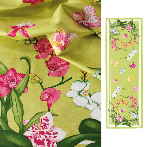 Orchidées (Orchids), Green, Table Runner