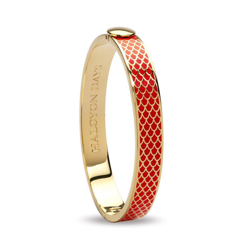"Halcyon Days, ""Salamander"" Red & Gold Enamel, 18 ct Hinged Bangle"
