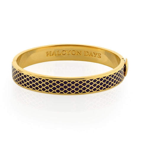 Halcyon Days, Salamander Black & Gold Enamel, 18 ct Hinged Bangle