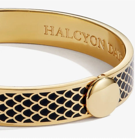 "Halcyon Days, ""Salamander"" Black & Gold Enamel, 18 ct Hinged Bangle"