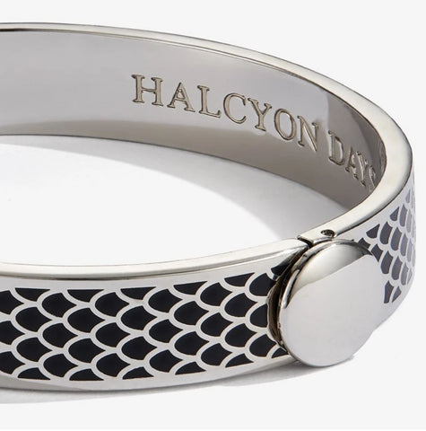 Halcyon Days, Salamander Black Enamel & Palladium Hinged Bangle