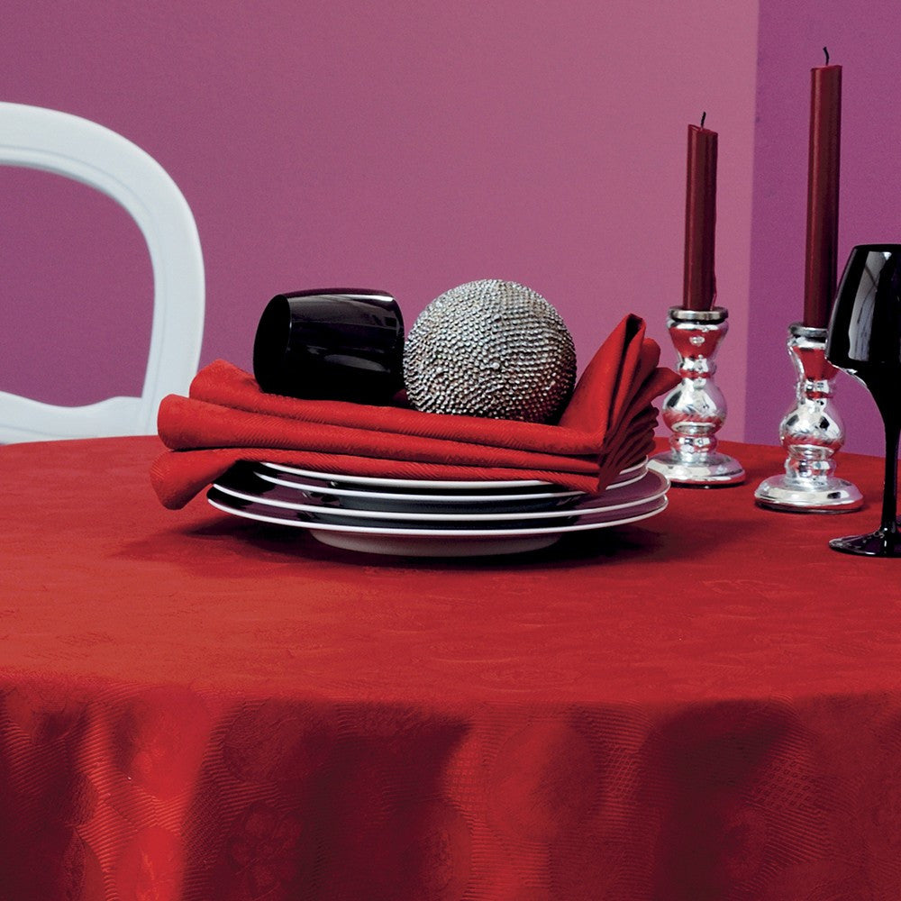 "Mille Pensées Scarlet Red Tablecloth, 71"" x 118"""