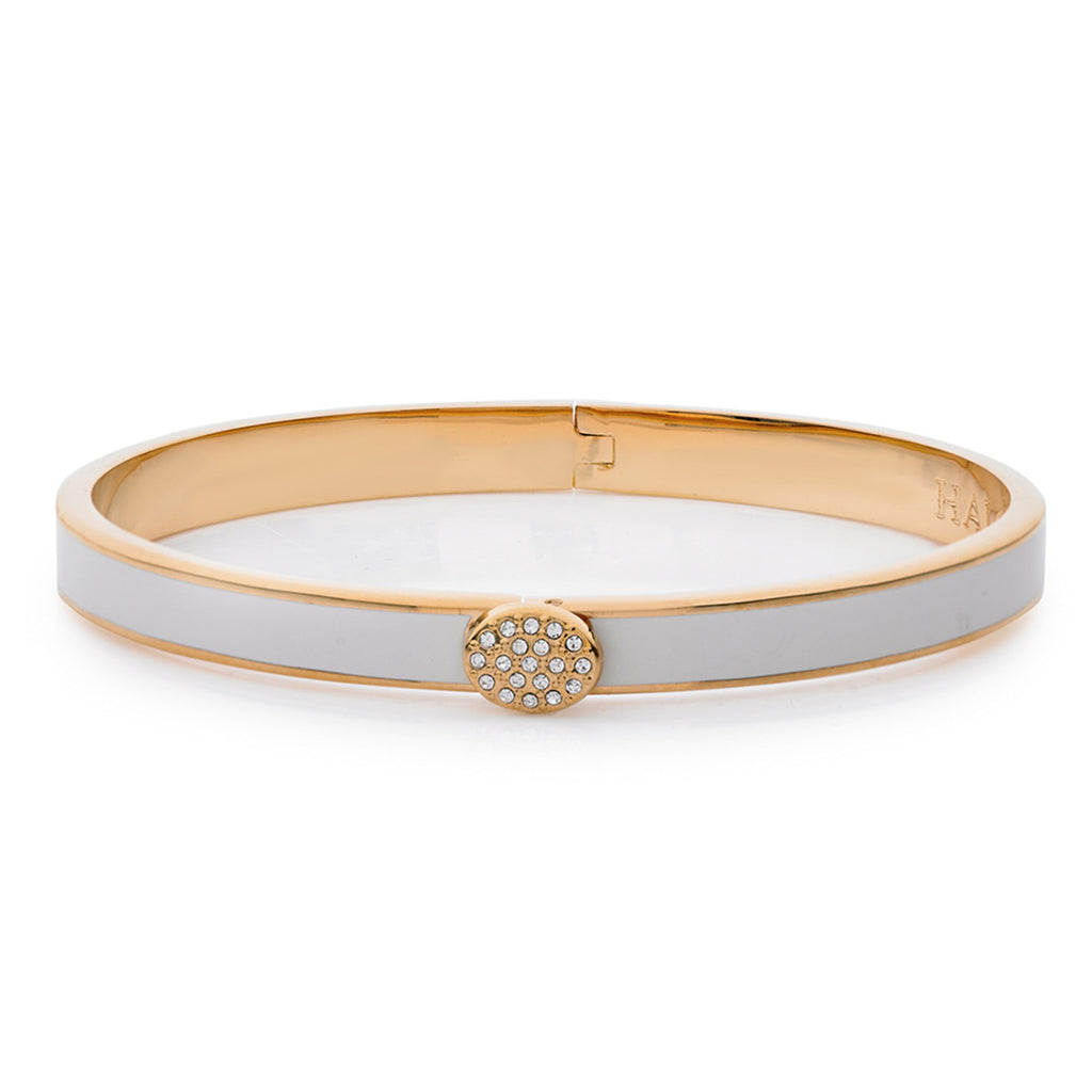 Halcyon Days, Thin Plain Pave Button Cream Enamel & 18 ct Gold Hinged Bangle