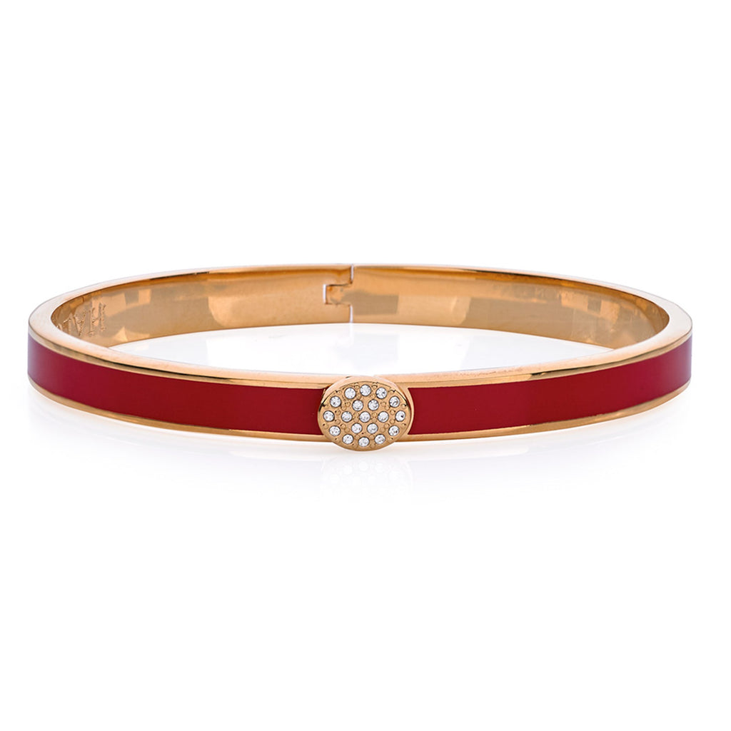 Halcyon Days, Thin Plain Pave Button Red Enamel & 18 ct Gold Hinged Bangle