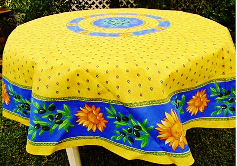 Sunflower Blue Coated Cotton Provence Tablecloth   Le Cluny