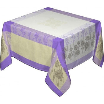 Coquelicots (Poppies), Lavande  French Provence Jacquard Tablecloth