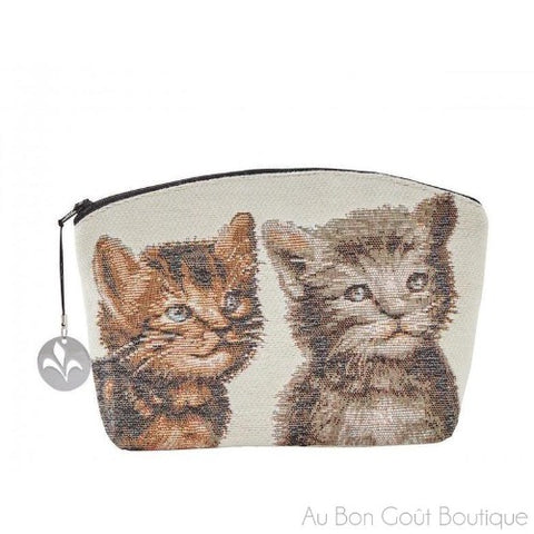 Two Kittens Double-Sided French Tapestry Zippered Case (Pouchette)