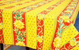 Sunflower Red & Orange Coated Cotton Provence Tablecloth - Le Cluny
