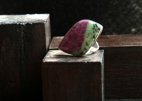 Anyolite and Sterling Silver Ring      Size 10