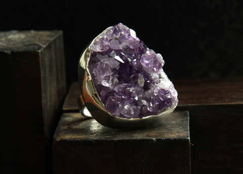Amethyst Druzy Sterling Silver Ring   Size 6