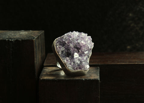 Amethyst Druzy Sterling Silver Ring   Size 5.5