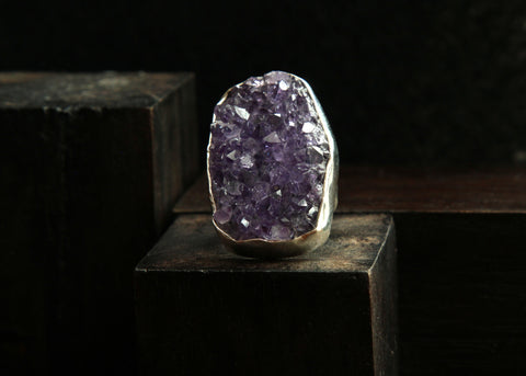 Amethyst Druzy Sterling Silver Ring   Size 5