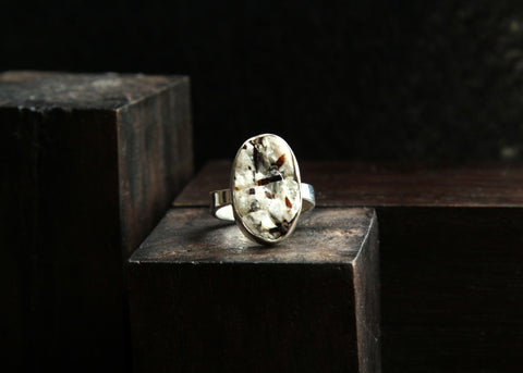 Astrophyllite and Sterling Silver Ring      Size 6