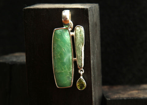 Prynite, Green Kynite, and Green Amethyst Sterling Silver Pendant