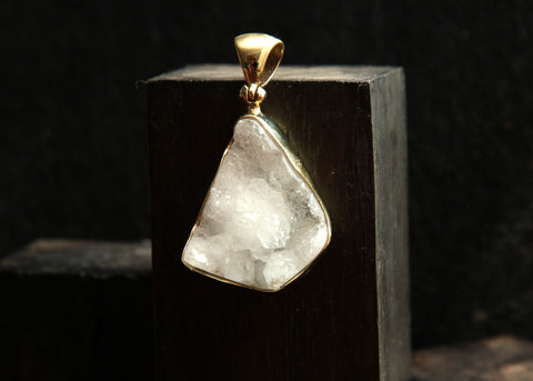 Drusy Quartz 18k Gold Layered Brass Pendant