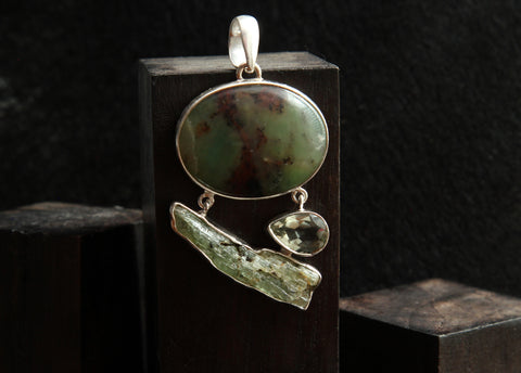 Chrysoprase, Green Kynite, and Peridot Sterling Silver Pendant