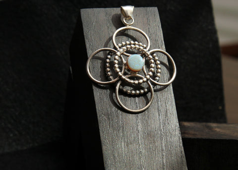 Spider Opal and Sterling Silver Pendant