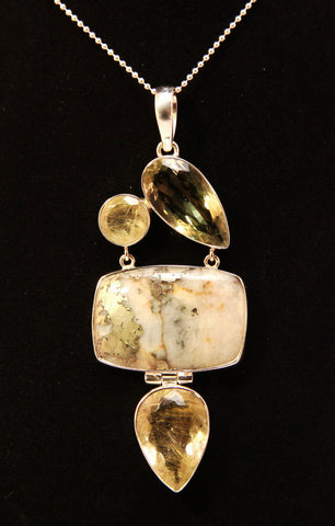 Golden Rutilated Quartz, Green Amethyst, and Pyrite Sterling Silver Pendant