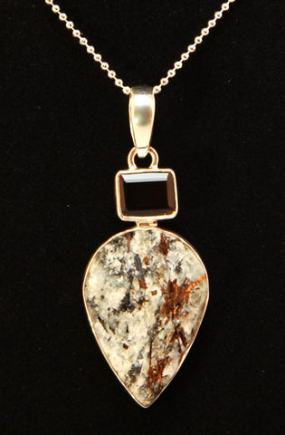 Astrophyllite and Smoky Quartz Sterling Silver Pendant
