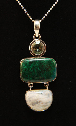 Chrysocolla, Moonstone, and Green Amethyst Sterling Silver Pendant